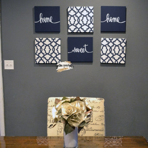 Navy Blue Living Room Wall Art Set Home Sweet Home Dining Etsy