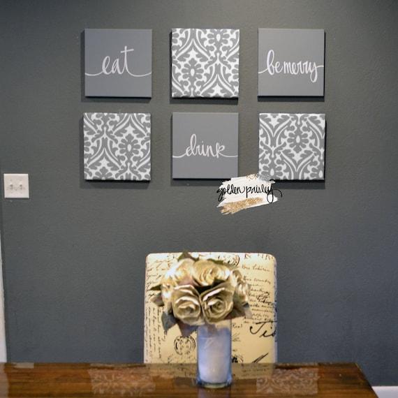 Gray Dining Room Wall Art Set Eat Drink, Dining Room Wall Art