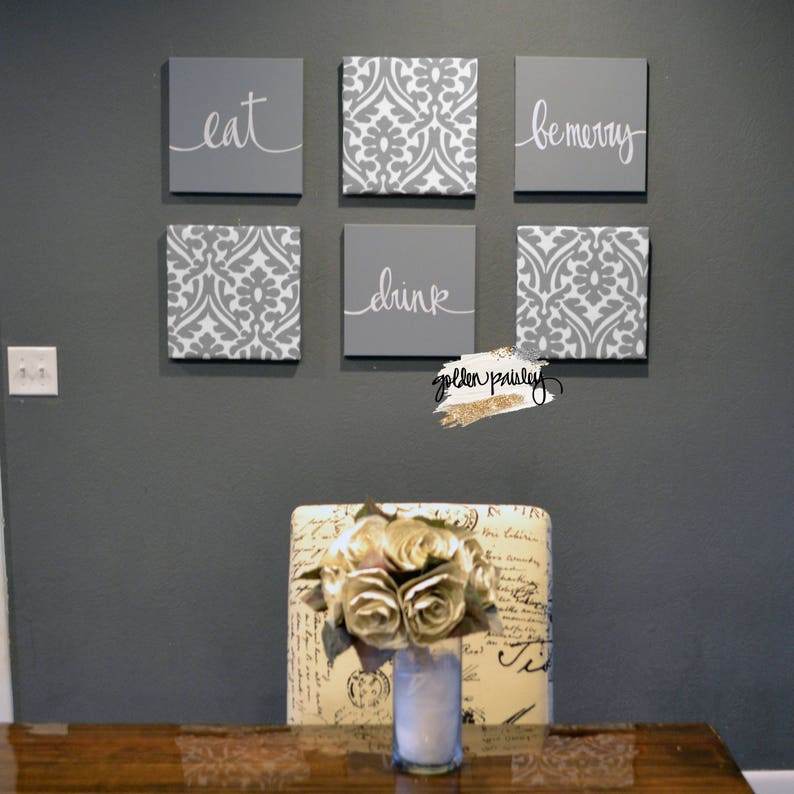 Gray Dining Room Wall Art Set Eat Drink And Be Merry Living