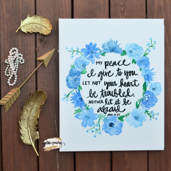 floral watercolor bible verse quote canvas art painting wall etsy