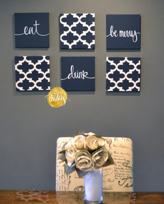 Navy Blue Wall Art Set Canvas Wall Hangings Dining Room Living | Etsy