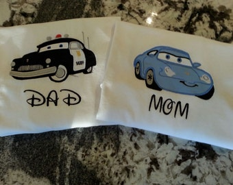 Disney Cars inspired Mom and Dad Shirt