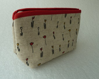 38a3f6cee0a4 SALE Large Waterproof Linen Cosmetic Bag