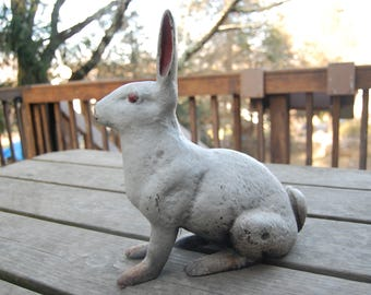 "REDUCED! - Cast Iron Rabbit Doorstop with Original Paint 11 1/2"" Tall Very Heavy - Antique Cast Iron White Rabbit Door Stop Yard Art - Hare"