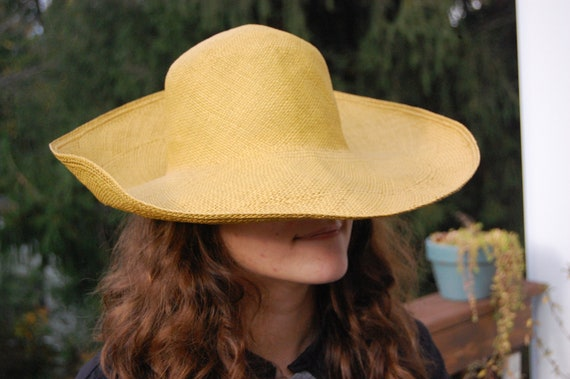 Floppy Yellow Straw Sun Hat - Women's Floppy Straw