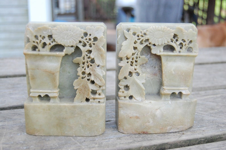 Antiques Antique Rare Hand Carved Soap Stone Bookends Victorian Floral