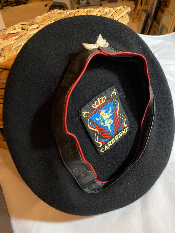 Vintage Black Basque Beret by Carbonne - image 3