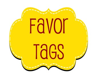 Handcrafted Favor Bag Tags - Pack of 6 Tags