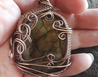 Labradorite Cabochon bezel wrapped in Antiqued Pure Copper