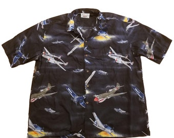 a98fa1aa536 Vintage Hawaiian Shirt 90s Pacific Legend WWII Bomber Jets Fighter Planes  Sz XXL