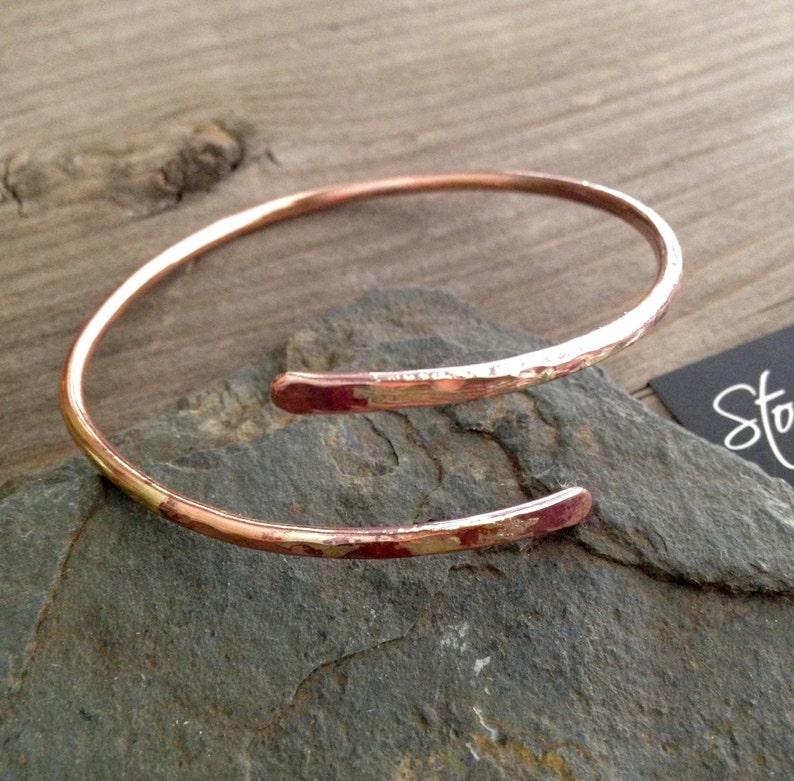 Copper bracelet with Soldered Silver overlay Journey Bracelet Handcrafted Stackable Adjustable Copper Bracelet Open Metal Cuff