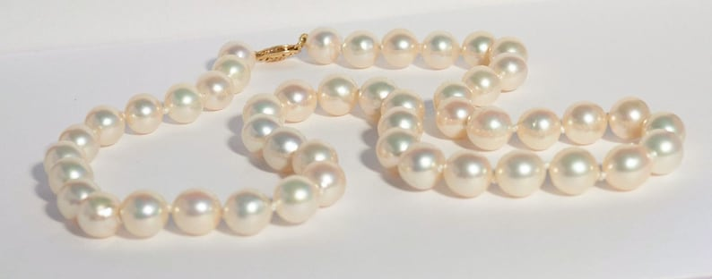 c6597e3867a77 Akoya Cultured Pearl Necklace, 14K Gold Clasp, June Birthstone, Anniversary  Gift, Bridal Necklace, Gift for Her, 8.5 - 9 mm Pearls