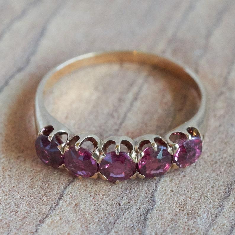 Wedding Band Wedding Ring September Birthstone Five Sapphire Pink Stone Band Ring 1.0 Carats Natural Pink Sapphires 14K Gold Ring