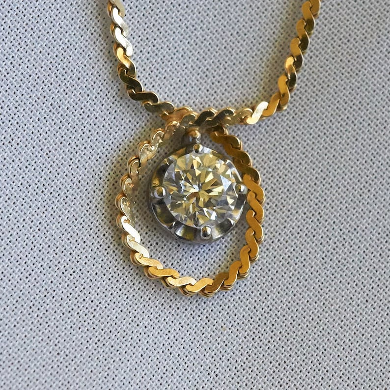 c398c1fda98 Wrap Diamond Pendant Necklace Yellow Gold Pendant Necklace   Etsy