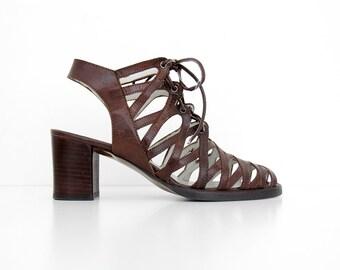 00c99f8212582 Vintage Shoes    90 s El Dantes Brown Leather Block Heel Cage Sandals     Strappy Shoes    Tie Up Plaform Heels