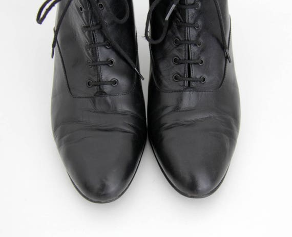 Vintage Black 1990s Heel 1980s Boots Leather Boots Ankle AqAxSw1g