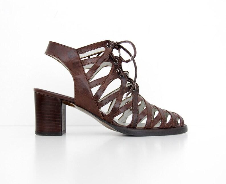 9facd522a8963 Vintage Shoes    90 s El Dantes Brown Leather Block Heel