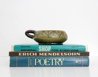 Vintage Ceramic Candleholder // Signed Stoneware Candleholder // Mid-century Candleholder