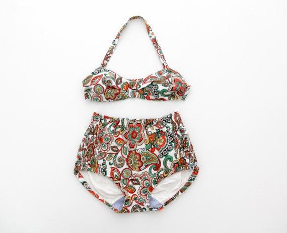 Vintage 50s 60s bikini // two piece bathing suit /