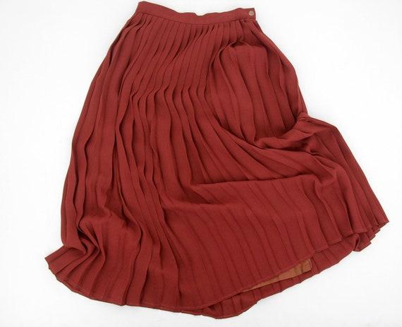 Vintage skirt // rust pleat long skirt // size M