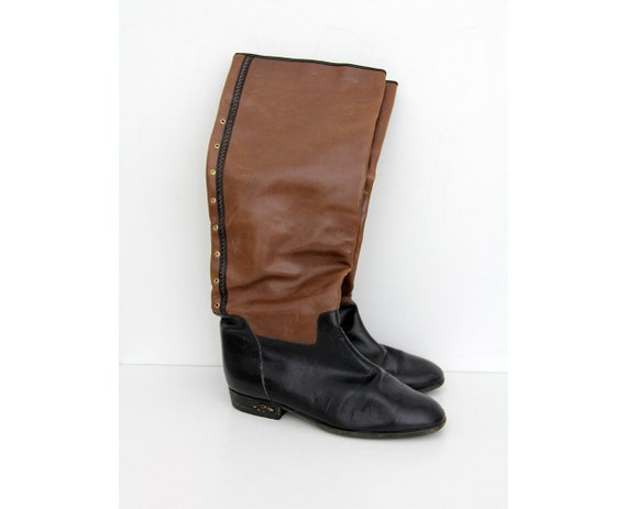 Vintage Boots // Black and Brown Leather Knee High