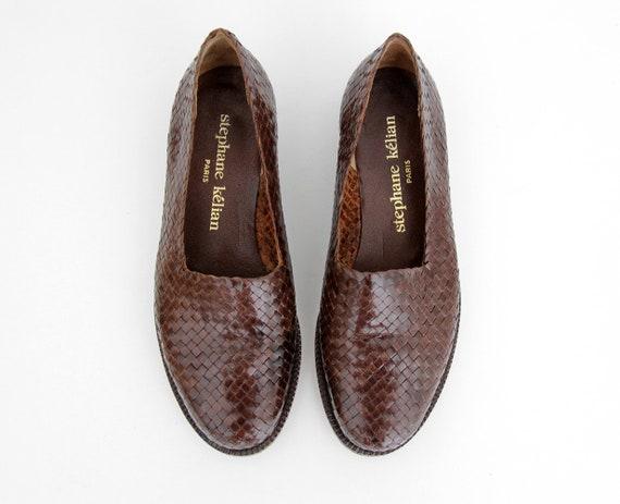cd02cdc2bc4 Vintage Shoes    Stephane Kélian Woven Leather Flats