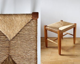 Vintage Stool // Mid Century Danish Cord and Wood Stool // Entryway Woven Bench With Wooden Frame
