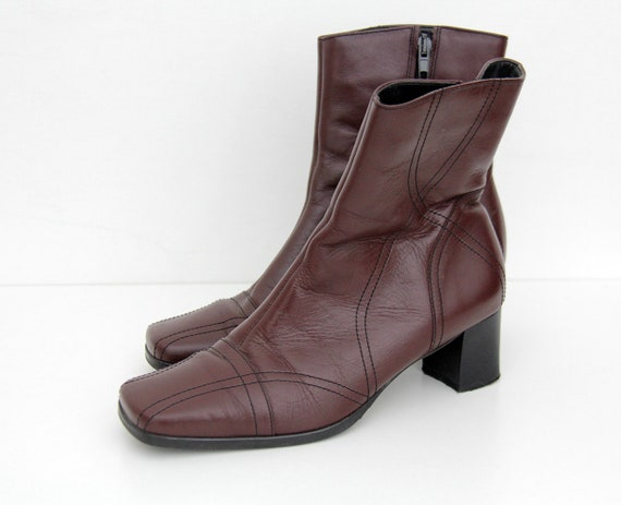 Vintage Boots // 1990s Burgundy Leather Ankle Heel