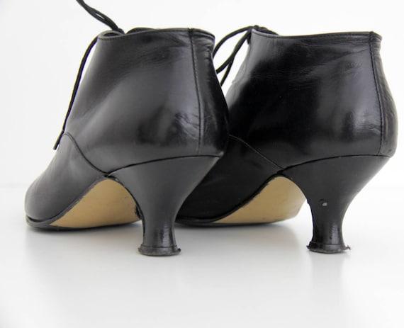 Boots Vintage Black 1990s Heel Ankle 1980s Boots Leather 0Fqr10
