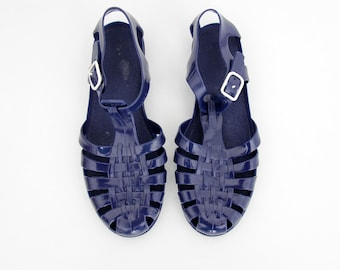 Vintage Jelly Sandals // 80's Blue Jellies