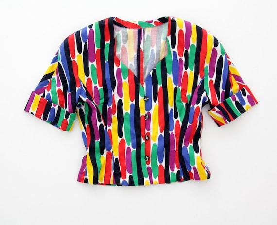 Vintage skirt and jacket set // 70s colorful summe