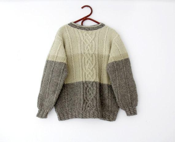 Vintage Sweater // Handknit Wool Fisherman Sweater