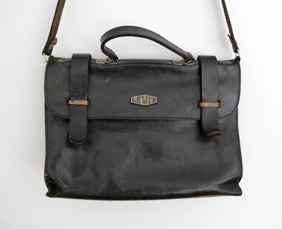 Vintage Bag // LEVI'S Dark Brown Leather Messenger