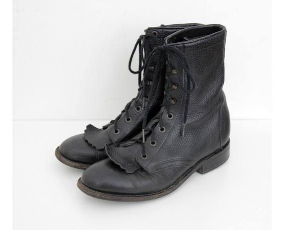 Vintage Fringe Boots // Black Leather Ankle Boots