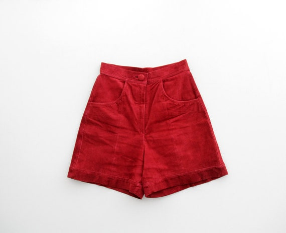 Vintage Shorts // Red Suede Leather Highwaisted Sh