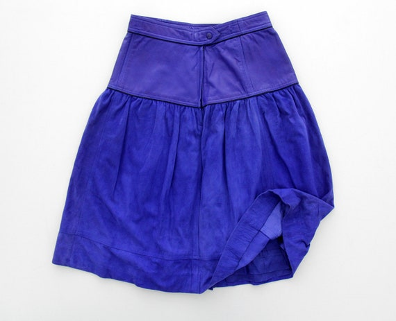 Vintage ESCADA Blue Leather Midi Skirt