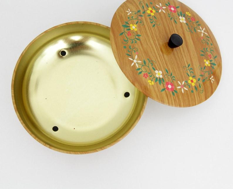 Vintage round tripod tin  folk floral pattern container
