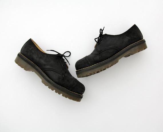 Vintage Doc Doc Doc Martens chaussures  90 s daim noir chaussures e677c0