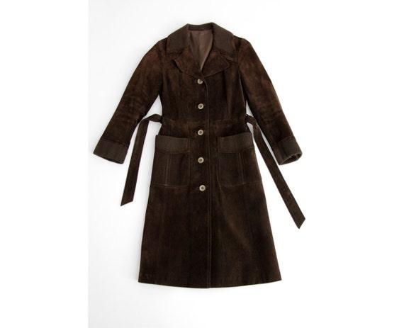 Vintage Suede Leather Coat // Chocolate Brown Belt