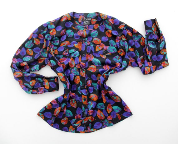 Vintage ESCADA Silk Shirt // Colorful Leaves Print