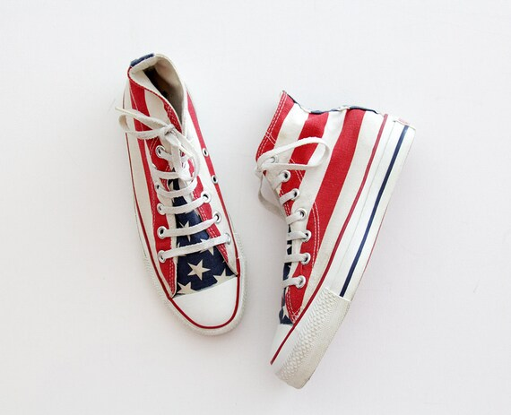 Vintage Sneakers 90's Made in USA CONVERSE Chuck Taylor American Flag All Star Sneakers Perfect Condition