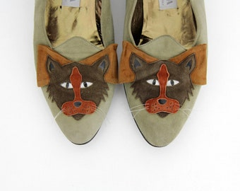 Vintage Italian 80's Gian Lizza leather cat loafers // suede cat heels