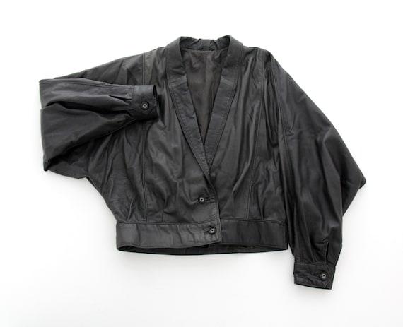 Vintage Jacket // ESCADA Black Leather Crop Jacket