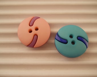 BUTTONS, two color ways, just under 3/4 inch in size, set of 13 buttons.