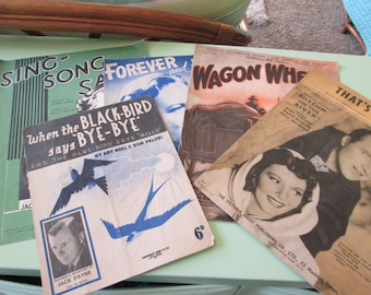 Five vintage piano sheet music copies--1930's onwards--condition as shown
