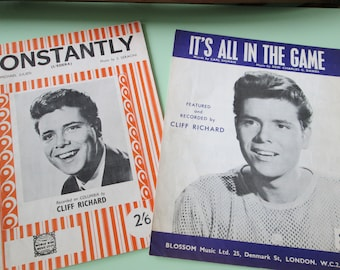 Cliff Richard--TWO vintage piano sheet music copies--Constantly & It's All In The Game--Good Condition