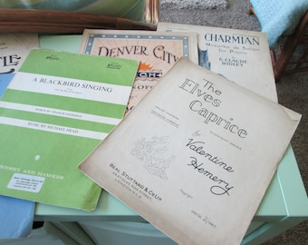 Ten vintage piano music copies--great for collector or scrapbooking crafts--condition as shown--early to mid 1900's