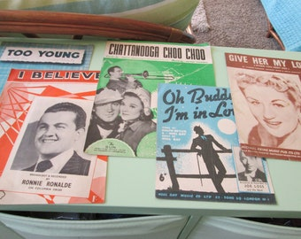 Five vintage piano sheet music copies-1930's onwards-condition as shown