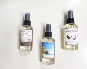 Body Oil Sampler - Choose Any 3  Body Oil in 2.2 oz Travel Size Spray Bottles Each - Natural Hair Oil - 98% Natural Body Oil