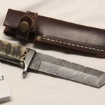 Handmade Damascus Tonto blade hunting knife, with ram horn handle, by Strohfus Knives (0002)